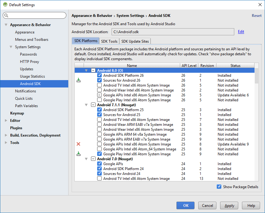SDK Manager in Android Studio : What to select?