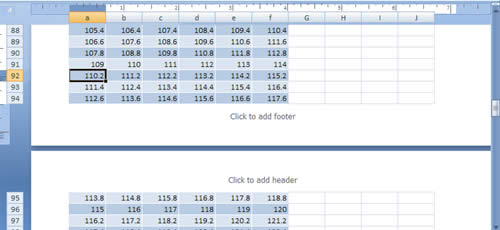 Page Layout View Excel 2007