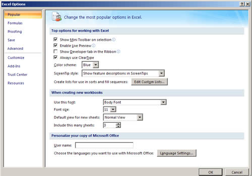 Excel 2007 Options