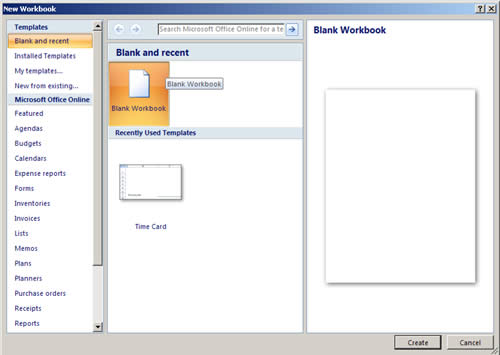 Microsoft Excel 2007 New Workbook window