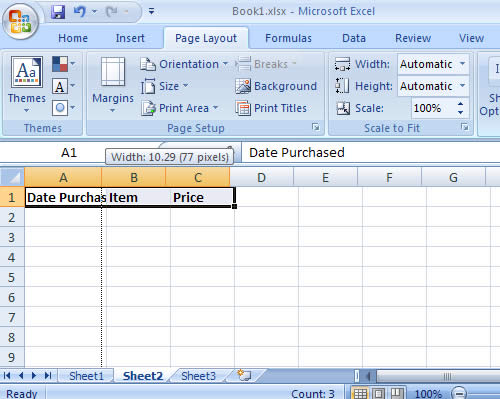 Resizing column width in Microsoft Excel 2007