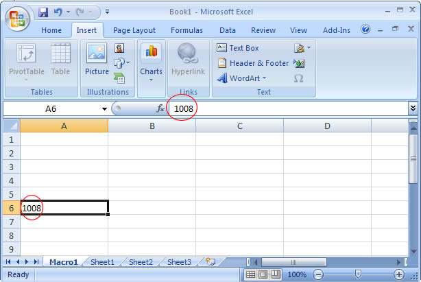 Formula Bar in Excel 2007