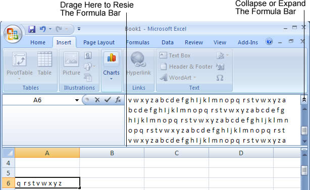 Resize formula bar in Excel 2007