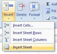 Inserting a new worksheet