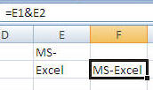 MS Excel Concatenating Text