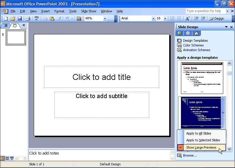creating a blank presentation ms powerpoint